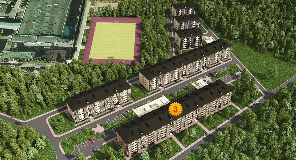 В квартале планируется построить 6 многоквартирных домов. Дом №3 уже построен